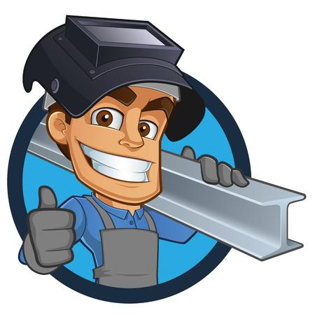 welder: Friendly blacksmith or welder, wearing a girder Illustration