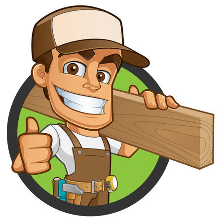 Friendly carpenter, he is dressed in work clothes and carrying a wooden 免版税图像 - 45651006