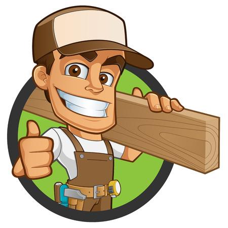 Przyjazny stolarz, jest on ubrany w odzież roboczą i prowadzenie drewniany Ilustracje wektorowe