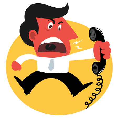 shouting: Angry man, he is screaming for a phone