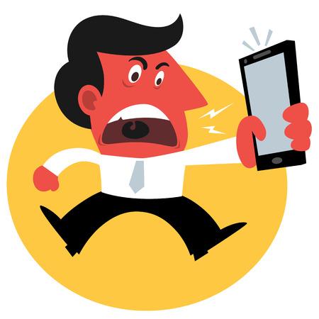 telefono caricatura: Hombre enojado, él está gritando por un teléfono