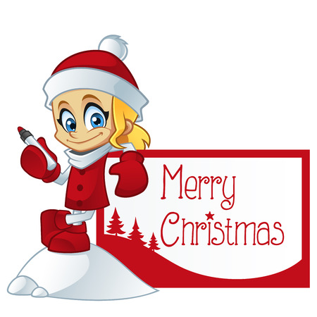 sociable: Girl dressed in Santa Claus, she has a greeting card