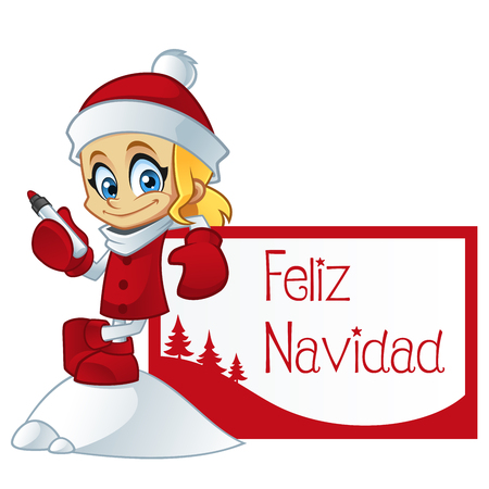 sociable: Girl dressed in Santa Claus, she is a greeting card with the text Merry Christmas in Spanish