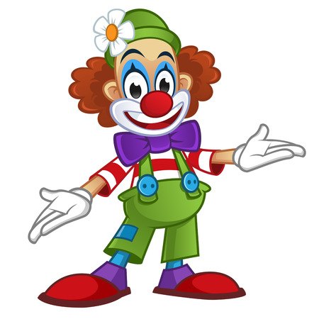 Man disguised in clown clothes, is on white background Vectores