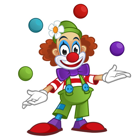 Man dressed with clothes clown, the clown is playing with balls