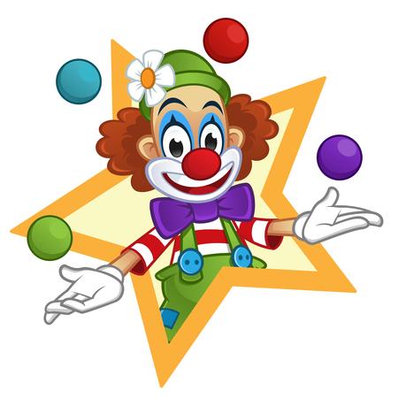 circo: Hombre vestido con ropa de payaso, el payaso está jugando con pelotas