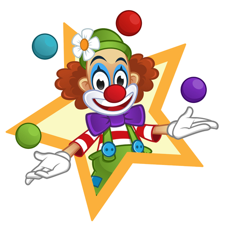 cartoon party: Man dressed with clothes clown, the clown is playing with balls