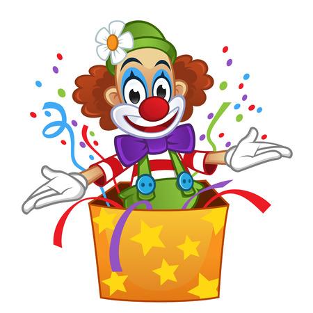 Mężczyzna ubrany w odzież clown, clown daje niespodziankę