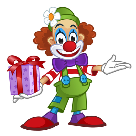 has: Man dressed with clothes clown, the clown has a present