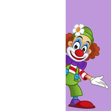 Człowiek przebrany w stroje klaunów, ma miejsca, aby umieścić tekst