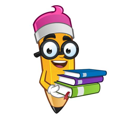 La mascota Ilustración de un lápiz que lleva algunos libros Ilustración de vector
