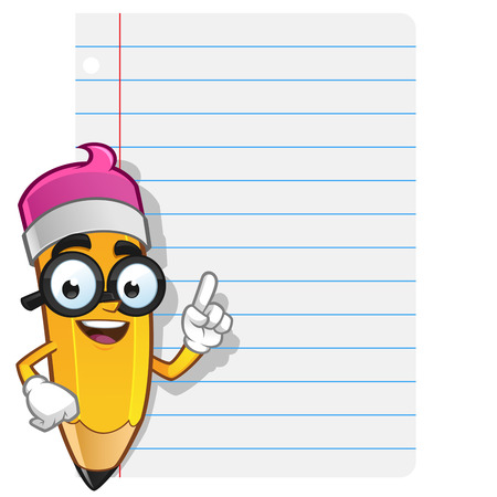 Mascot Illustration of a Pencil he has a piece of paper to put text Illustration