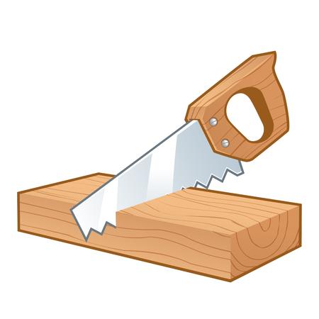 Zag het snijden van een stuk hout, op wit wordt geïsoleerd Vector Illustratie