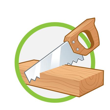 serrucho: Vio cortar un trozo de madera, aislado en blanco Vectores