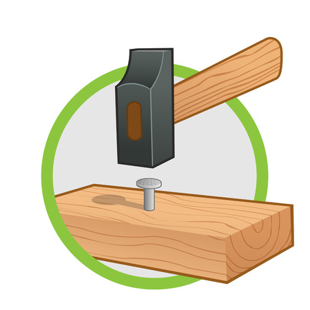 hammers: Hammer hammering a nail into a piece of wood