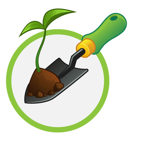 garden landscape: small gardening shovel with a plant and some soil