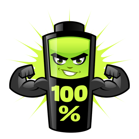 Strong battery on a white background vector illustration