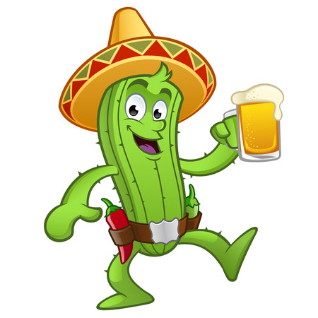 tankard: Cactus with a pitcher of beer in His Hand
