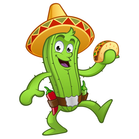 Sympathetic Mexican cactus with a taco in her hand 免版税图像 - 58662806