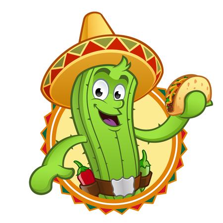 cactus mexicain sympathique avec un taco dans sa main