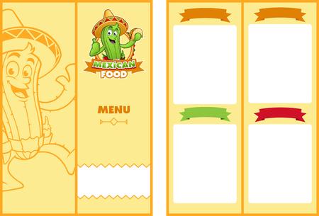 Template menu of Mexican restaurant