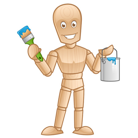 wooden mannequin: Wooden mannequin with a paint brush, vector illustration