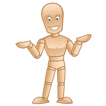 wooden doll: Funny wooden mannequin posing, vector illustration Illustration