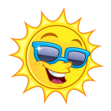 wears: Funny drawing of a sun, I wears sunglasses Illustration