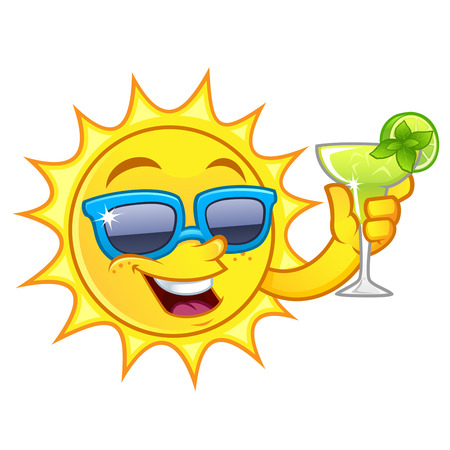 tropical drink: Funny drawing of a sun, I have a refreshing drink