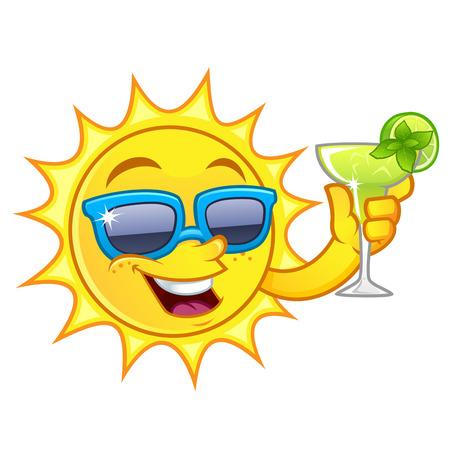 Grappige tekening van een zon, ik heb een verfrissend drankje
