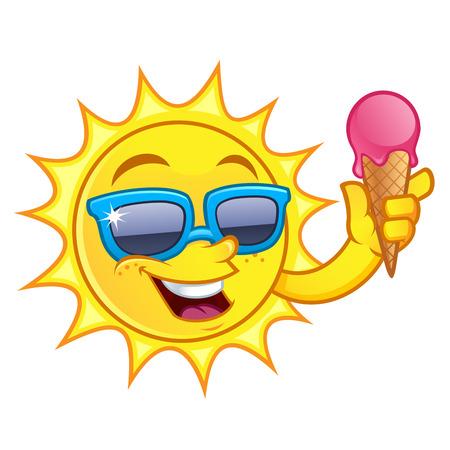 diversion: divertido dibujo de un sol, tengo que cono de helado Vectores