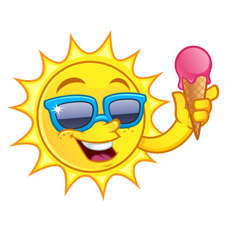 fun in the sun: Funny drawing of a sun, I have to ice cream cone