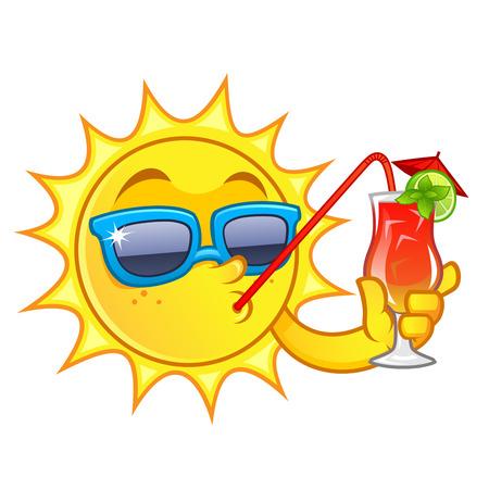 Dessin drôle d'un soleil, j'ai une boisson rafraîchissante Banque d'images - 58662849