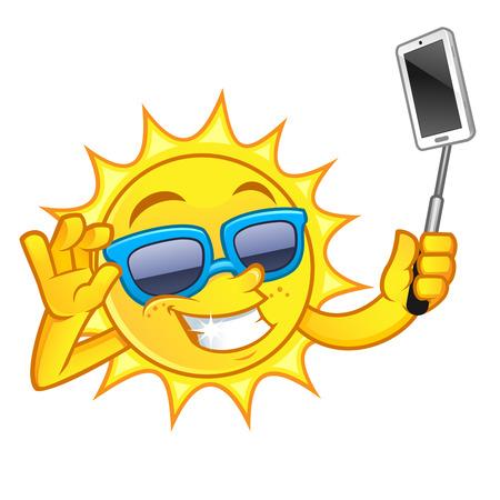 太陽の描画がおかしい、私は彼の携帯電話で selfie になって