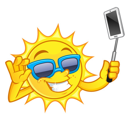 Funny drawing of a sun, I is making a selfie With His mobile