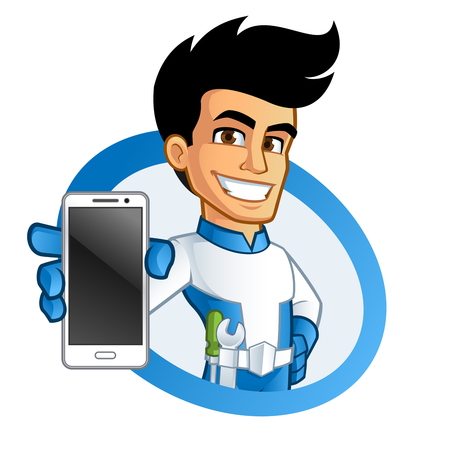 phone hand: Hand holding a mobile phone, a smartphone Illustration