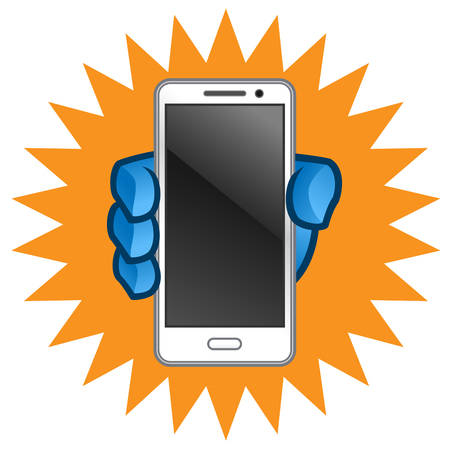 smartphone hand: Hand holding a mobile phone, a smartphone Illustration