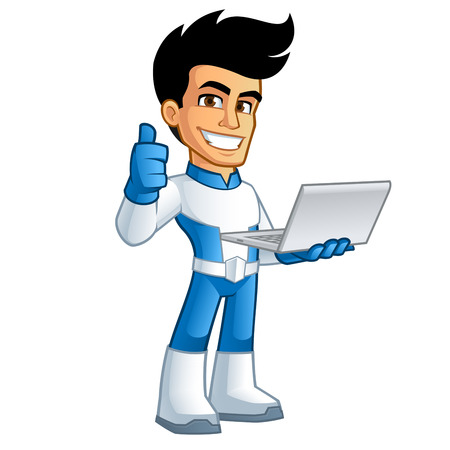 notebook computer: Young superhero  have a notebook computer in his hand
