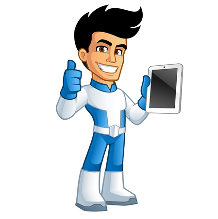 have: Young superhero  have a tablet in his hand Illustration