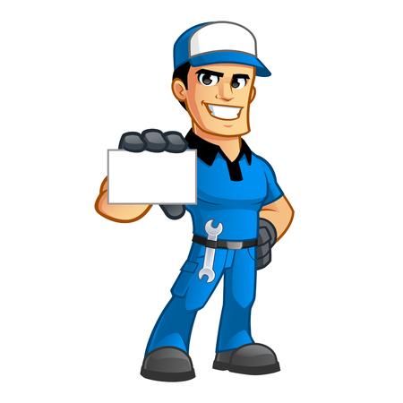 sympathetic: Sympathetic car mechanic, he has a spanner in his belt Illustration