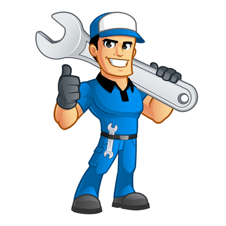handyman: Sympathetic car mechanic, he has a spanner in his belt Illustration