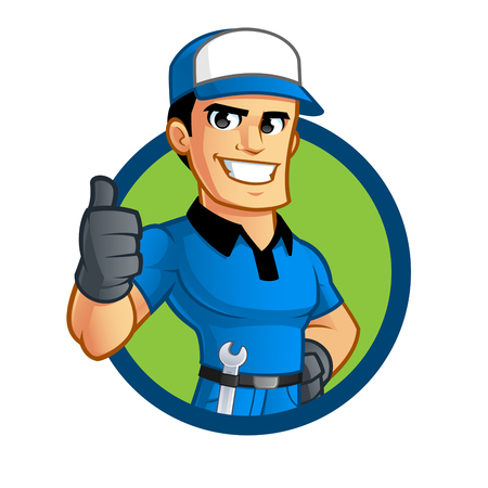 Sympathetic car mechanic, he has a spanner in his belt Stock Illustratie