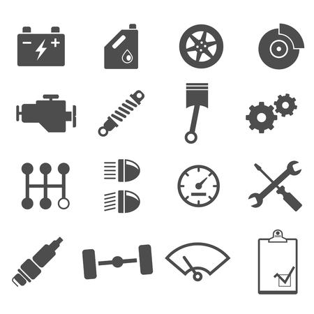maintenance work: Icon set car repair on white background