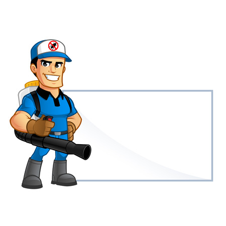 Worker with equipment pest extermination