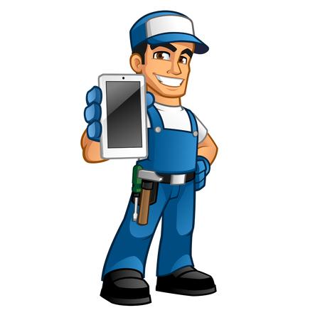 Handyman tragen Arbeitskleidung und einen Gürtel, er hat ein Smartphone