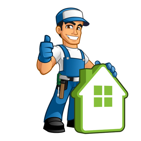 Handyman wearing work clothes and a belt, with tool