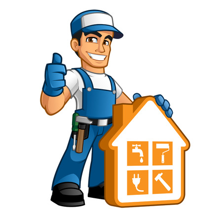work clothes: Handyman wearing work clothes and a belt, with tool