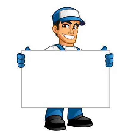 Bricoleur, il a un panneau blanc où vous pouvez mettre votre texte Banque d'images - 63151185