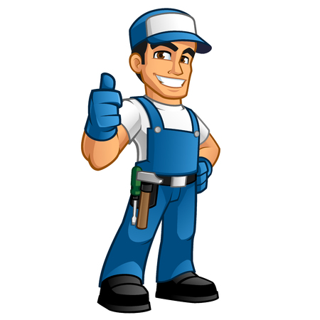 work clothes: handyman wearing work clothes and a belt with tools