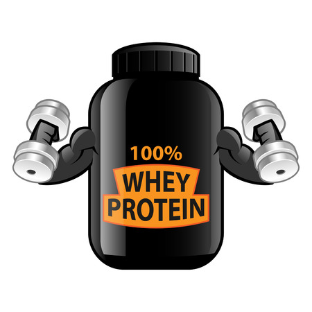 Jar of whey protein isolated on white background. Sports nutrition.